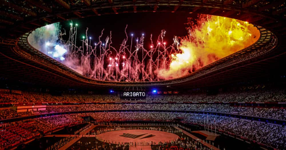 Closing Ceremony at the Olympic Stadium. Fireworks at the end of the closing ceremony (Photo by Ayman Aref/NurPhoto via Getty Images).