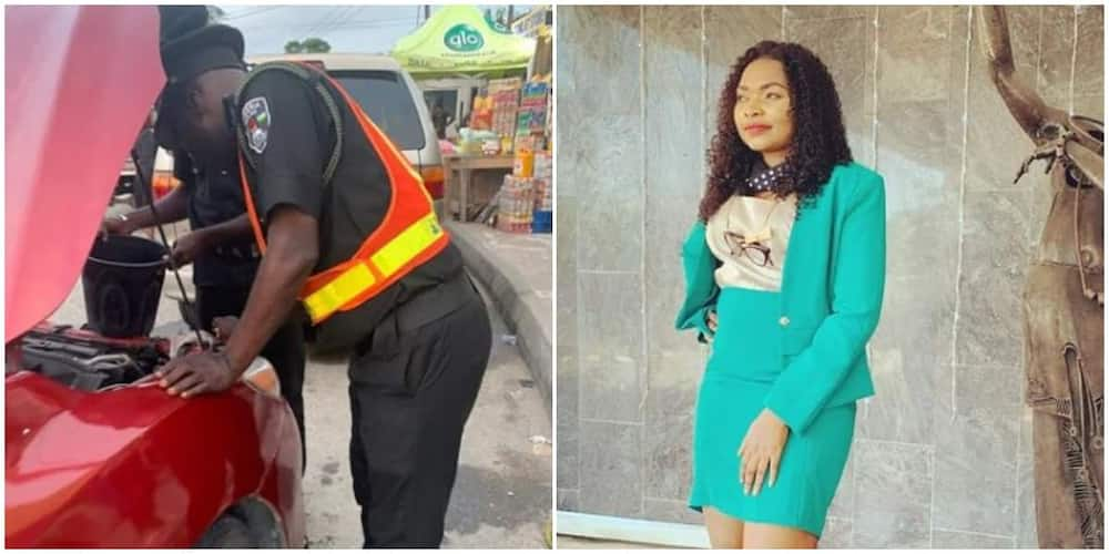 Nigerians react as lady shares stunning experience with police offices who fixed her car