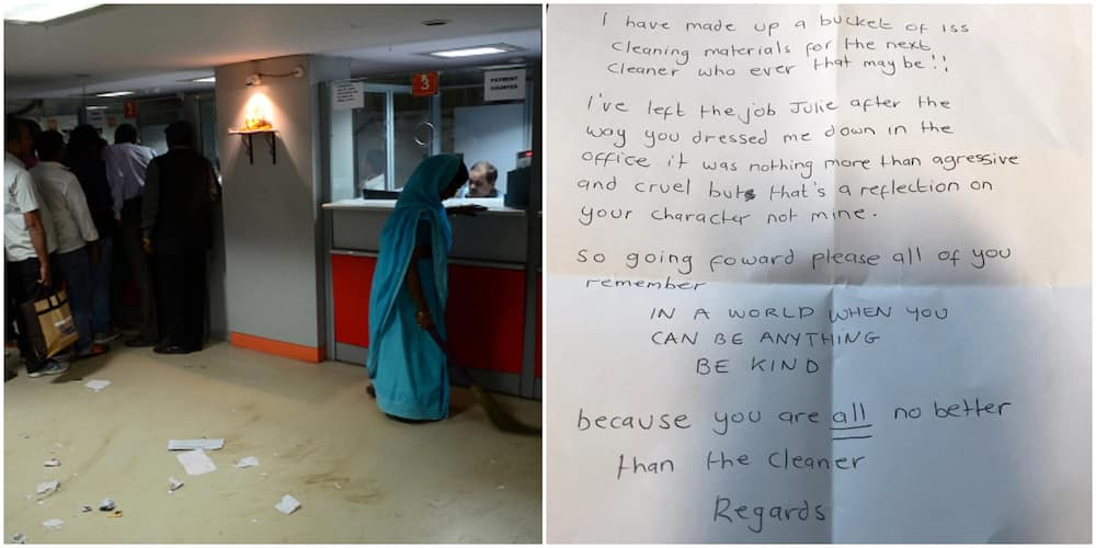 Woman who Works as Bank Cleaner Finally Dumps Job after 35 Years, Drops Heart-touching Note for Her Awful Boss