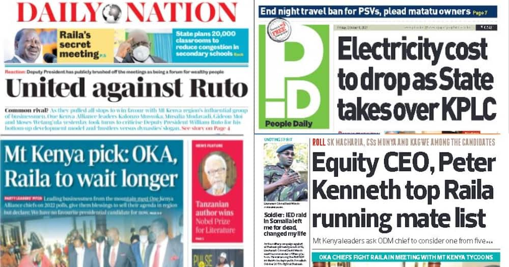 Kenyan Newspapers Review for October 8: Mt Kenya Tycoons Shortlist 6 Potential Running Mates for Raila