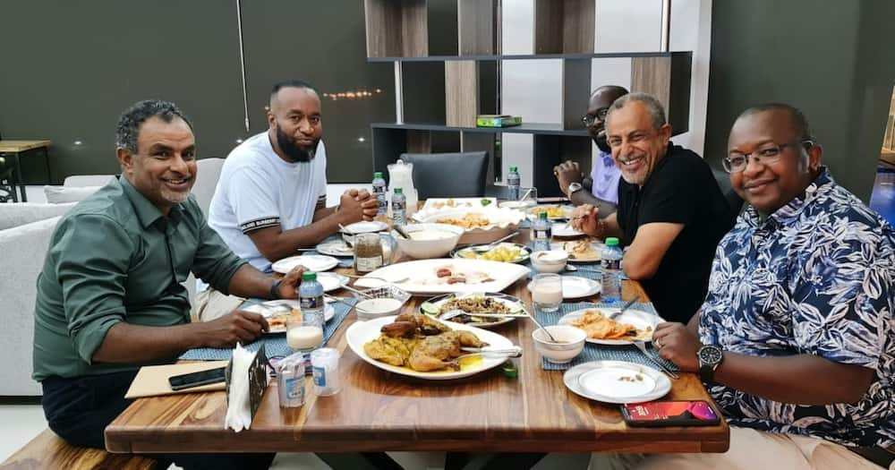 Mombasa governor Hassan Joho in a white shirt and Suleiman Shahbal in a black shirt. Photo: Suleiman Shahbal.