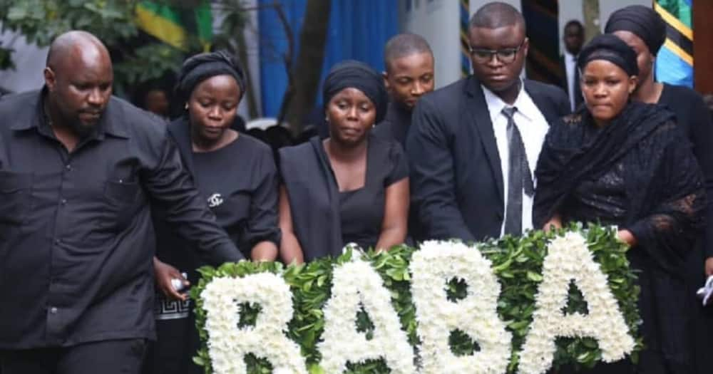 Photos of John Magufuli's Children Laying Wreath of Flowers on Father's Grave Elicit Sympathy Online