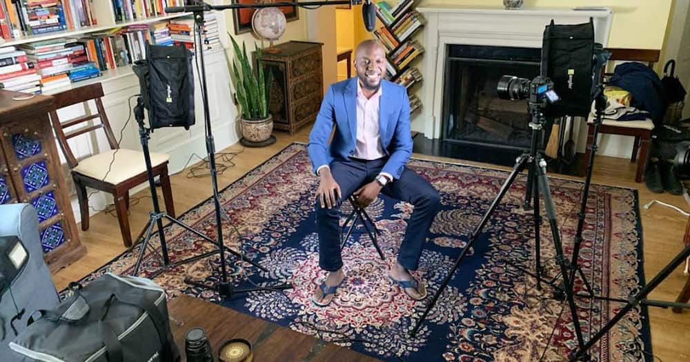 Larry Madowo's Fancy Living Room in Us Turned Into Makeshift Studio