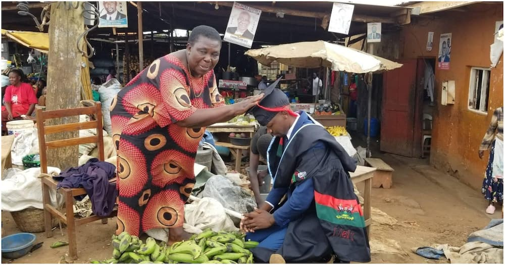 Graduate Pictured Kneeling at The Market Opens up on Being Raised by Grandmother after Parents Abandoned Him