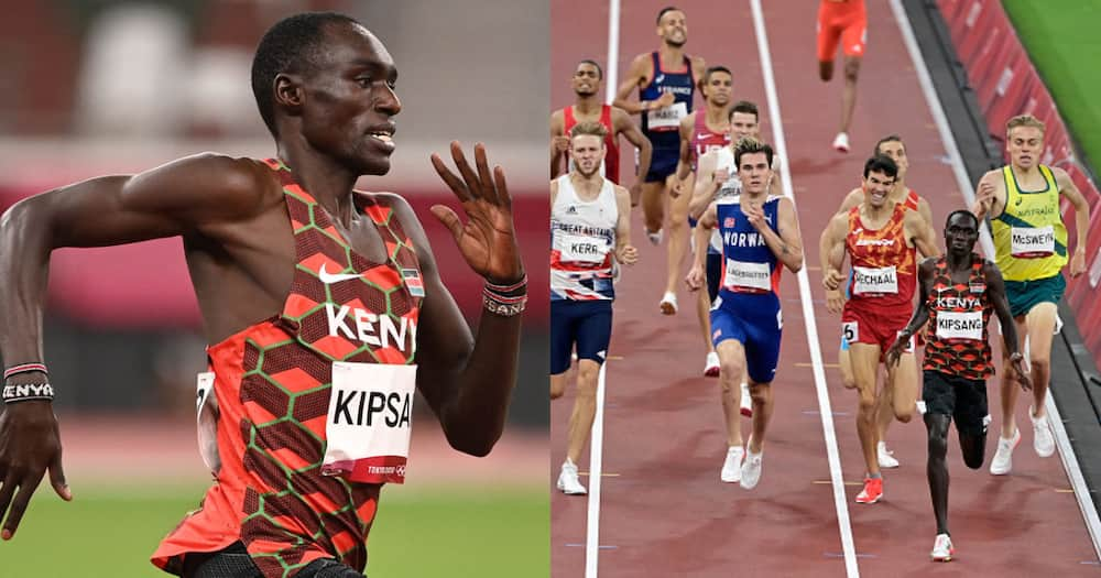 Kenya's Abel Kipsang (2R) wins the men's 1500m semi-finals during the Tokyo 2020 Olympic Games at the Olympic Stadium in Tokyo on August 5, 2021. (Photo by Javier SORIANO / AFP) (Photo by JAVIER SORIANO/AFP via Getty Images).