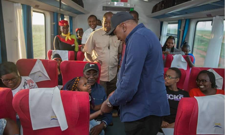 Uhuru takes surprise SGR trip to Mombasa, impressed with service