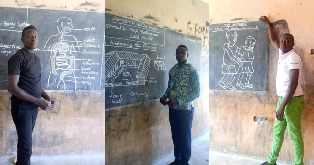 Ghanaians Shower Massive Praises on Teacher who goes Extra mile to Impart Knowledge with Drawing