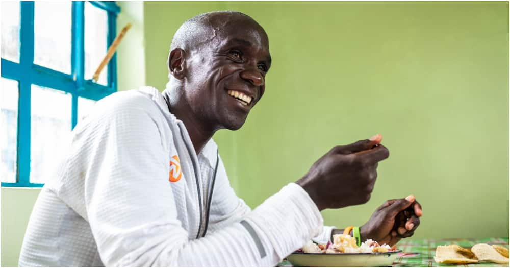 A file photo of Eliud Kipchoge having a meal. Photo: INEOS 1:59 Challenge.