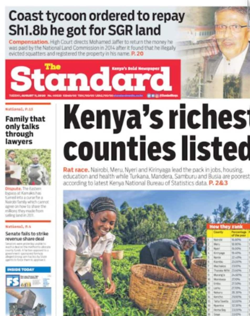 Kenyan newspapers review for August 11: Meru, Nyeri and Kirinyaga listed among Kenya's richest counties after Nairobi