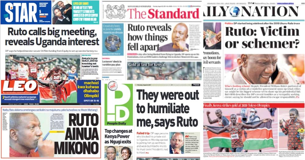 Kenyan Newspapers Review. Photo: Screengrabs from The Standard, Daily Nation, The Star, People Daily and Taifa Leo.