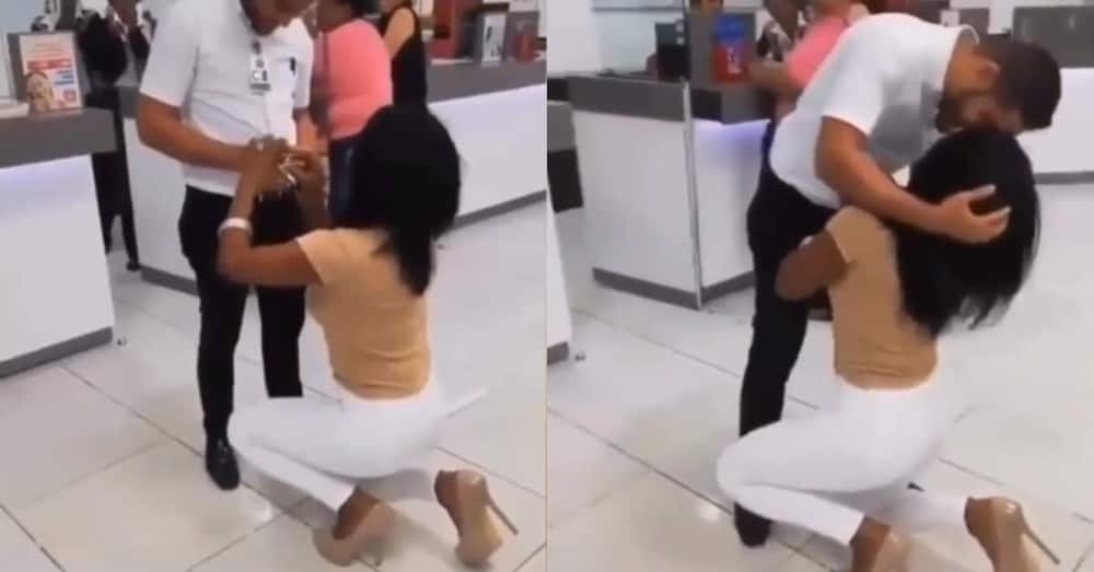 Confident beautiful lady openly proposes to man in public; video goes viral