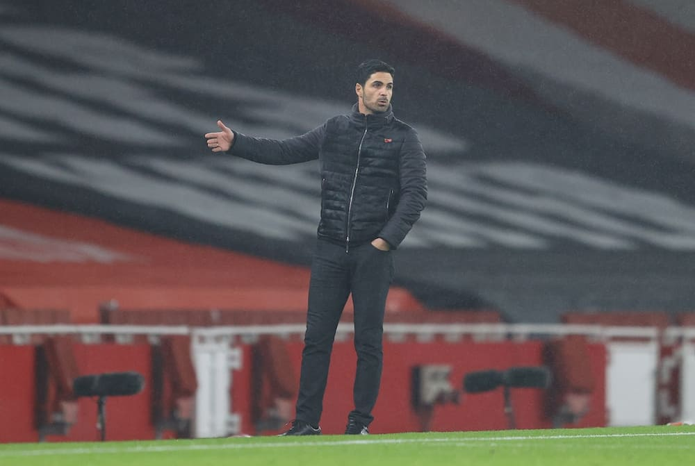 Arsenal coach Mikel Arteta in action for the Gunners