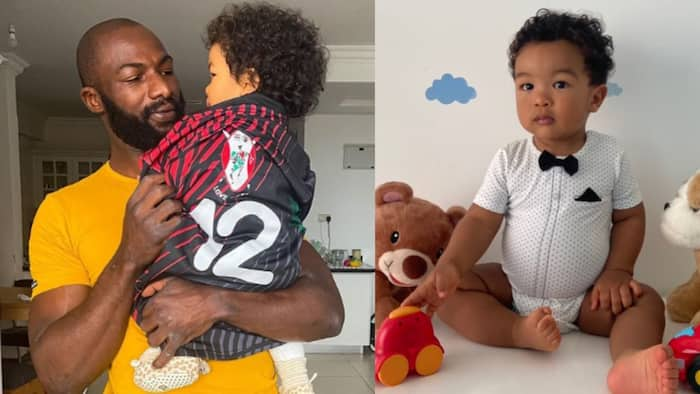 """Dennis Ombachi Shares Cute Photo to Celebrate Son's First Birthday: """"Like Father, Like Son'"""""""