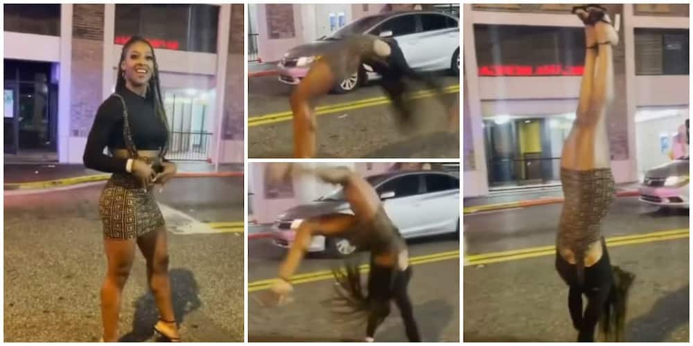 Beautiful Lady Does Hand Stand, Somersaults on Heels, Video Gets Social Media Users Gushing