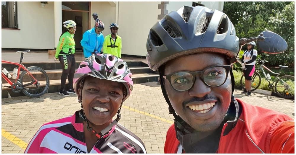 Mama Rachel Ruto and her cycling friend Moses Amira. Photo: Rachel Ruto.