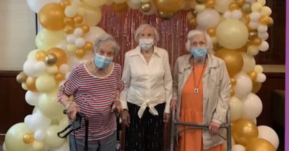 The three ladies turned 100 years old in one week. Photo: Atria Senior Living.