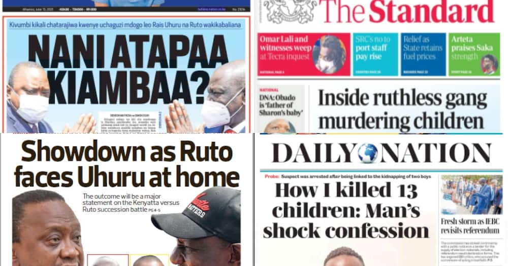 Newspapers for July 15. Photo: Screengrabs from The Standard, Daily Nation, The Star and Taifa Leo.
