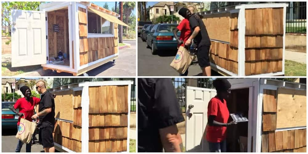 He built her a house and gave it to her. Photo: Screengrabs from video shared by Tiny House Build Video5.