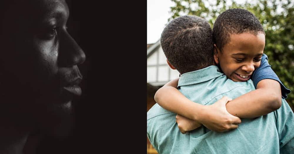 Photo illustration of sad father (l) and father hugging son (r).