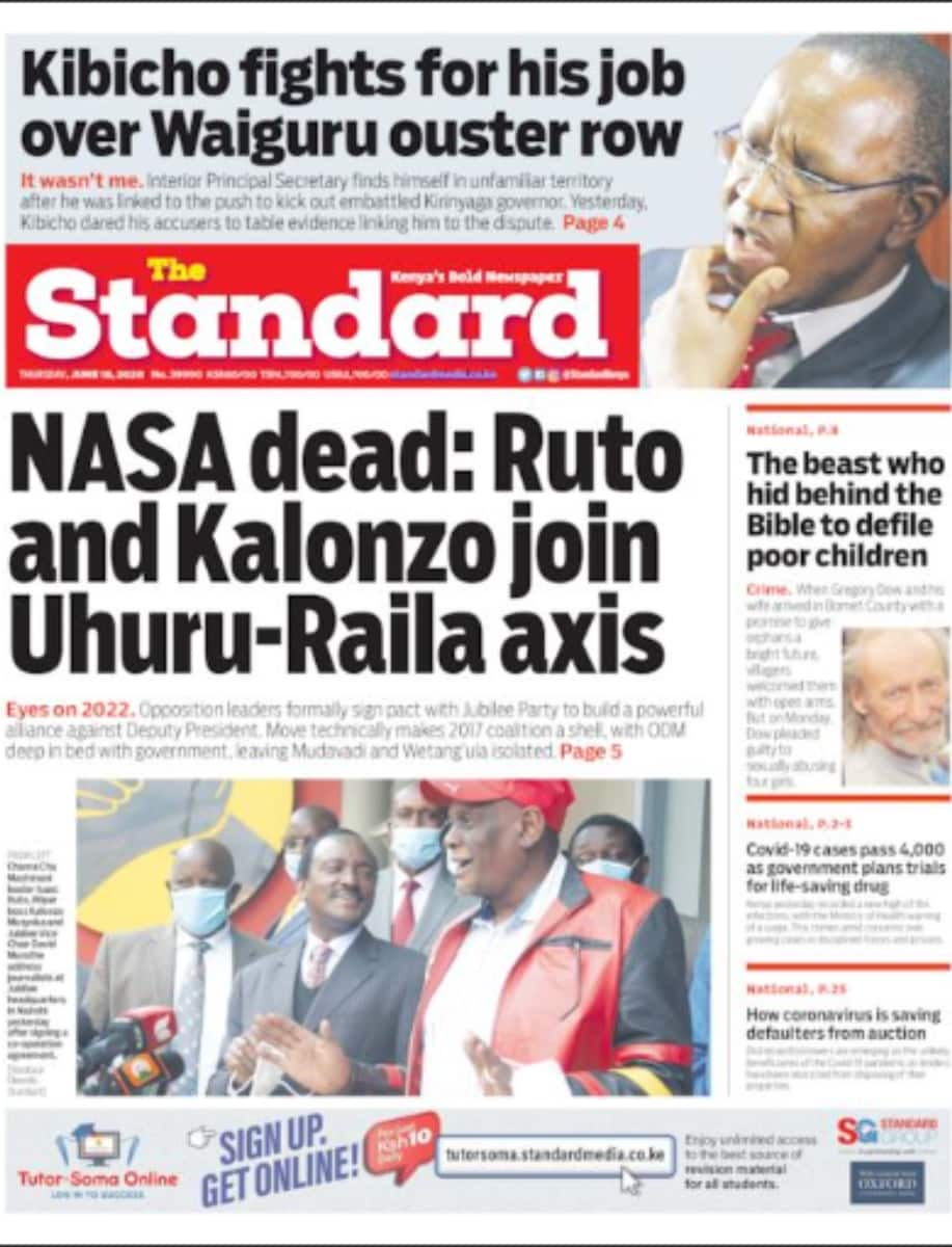Kenyan newspapers review for June 18: Governor Ngilu, 4 others stare at impeachment as MCAs begin signature collection