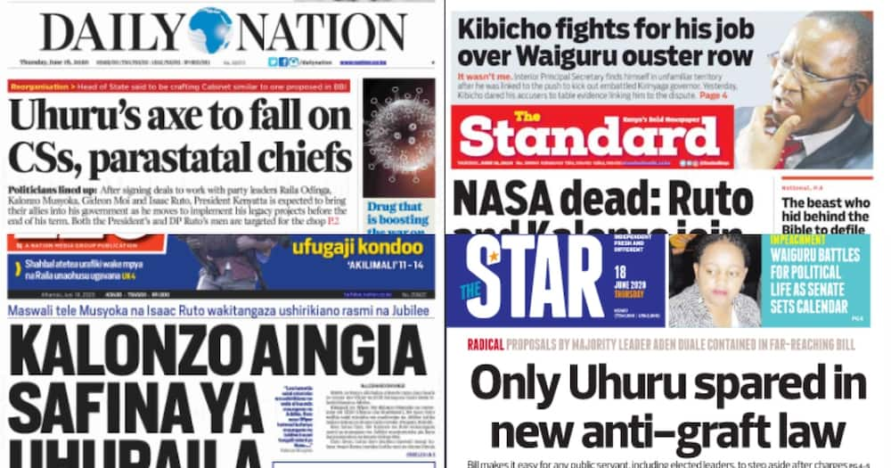 Kenyan newspapers review for June 18: Governor Ngilu, 4 others stare at an impeachment as MCAs begin signature collection