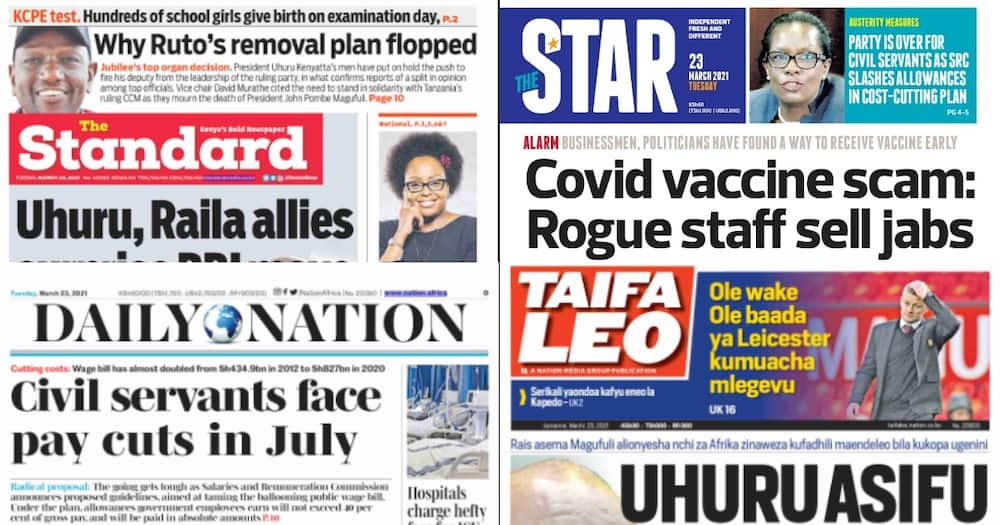 Kenyan newspapers review for March 23: Only 5 MPs required to seal Ruto's impeachment plot