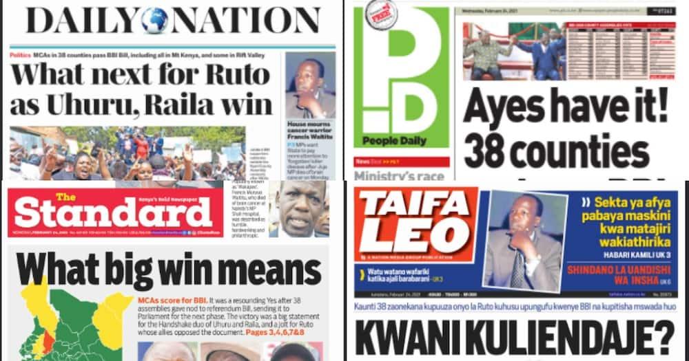 Magazeti ya Jumatabo: DP Ruto pabaya baada ya Rais Uhuru na Raila kupata ushindi mkubwa