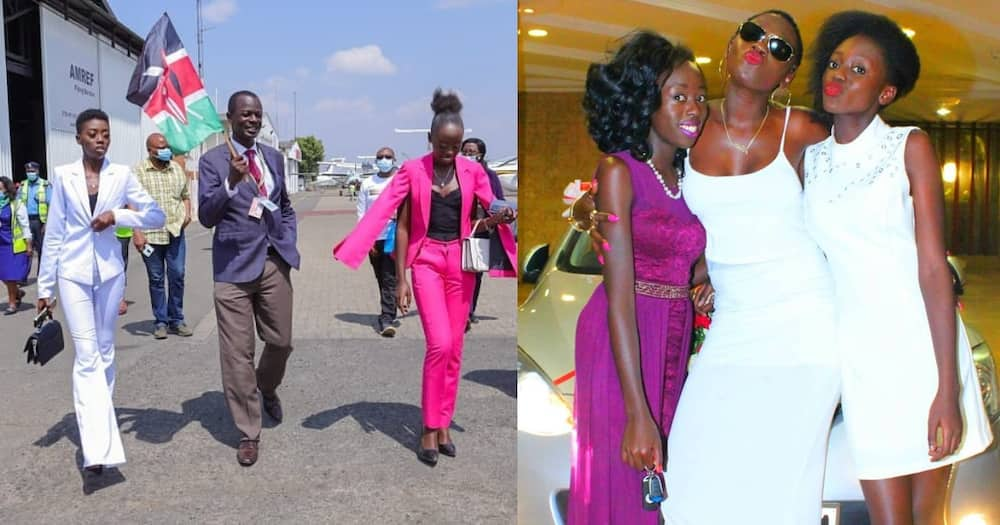 Akothee daughters, Vesha and Rue launch flights to Nyeri.