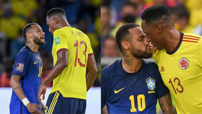 Stunning Photo of Neymar Trying to Kiss Top Premier League Star in World Cup Qualifiers Emerges