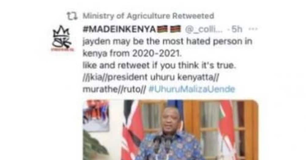 Ministry of Agriculture Apologises after Retweeting Post Saying Uhuru is Kenya's most Hated Person
