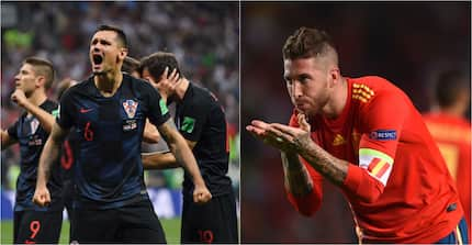 Liverpool's Dejan Lovren taunts Sergio Ramos after Croatia's 3-2 win over Spain
