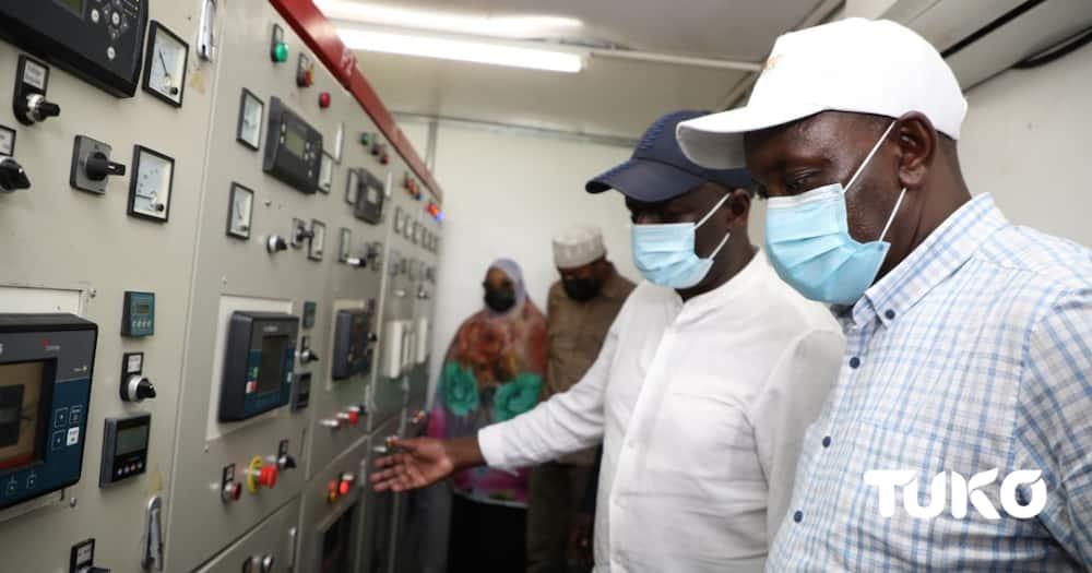 Energy Cabinet Secretary Charles Keter commissioned Hulugho Power Station. Photo: TUKO.co.ke.