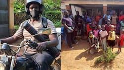 Bright Ntakky Arinaitwe: Kind Man Riding Across Uganda to Deliver Food, Medicine to the Needy