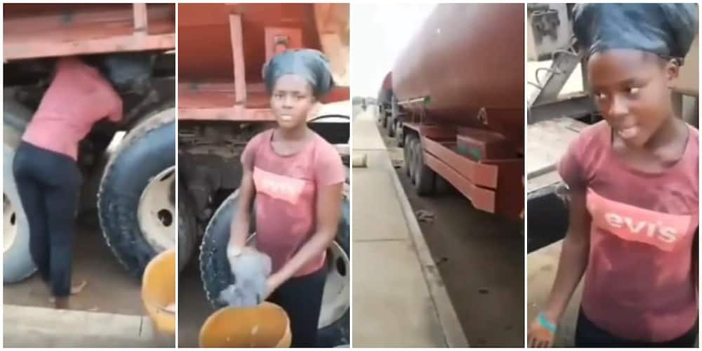 18-year-old Nigerian female student who washes tankers as hustle speaks in a viral video.