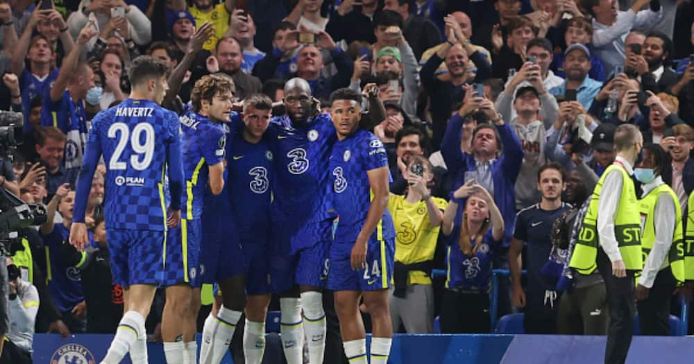 Chelsea players celebrating after scoring. Photo: Getty Images.