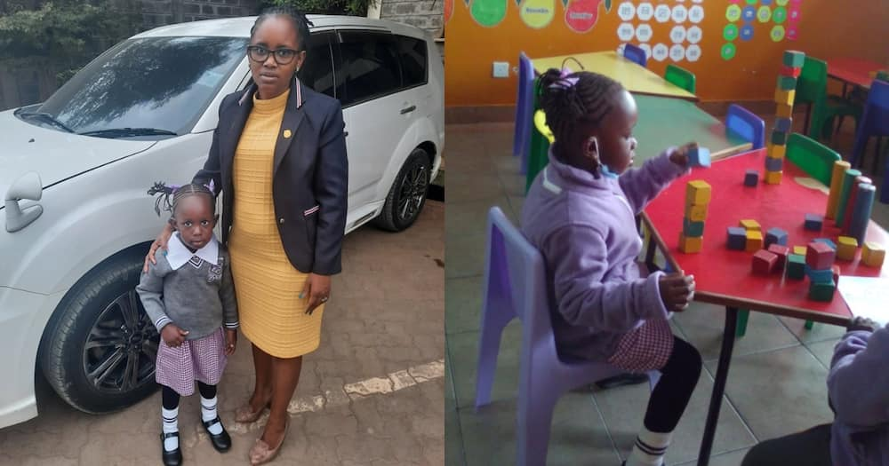 Wambui Ngume (l) with her daughter Zenelle (r) on her first day at school.