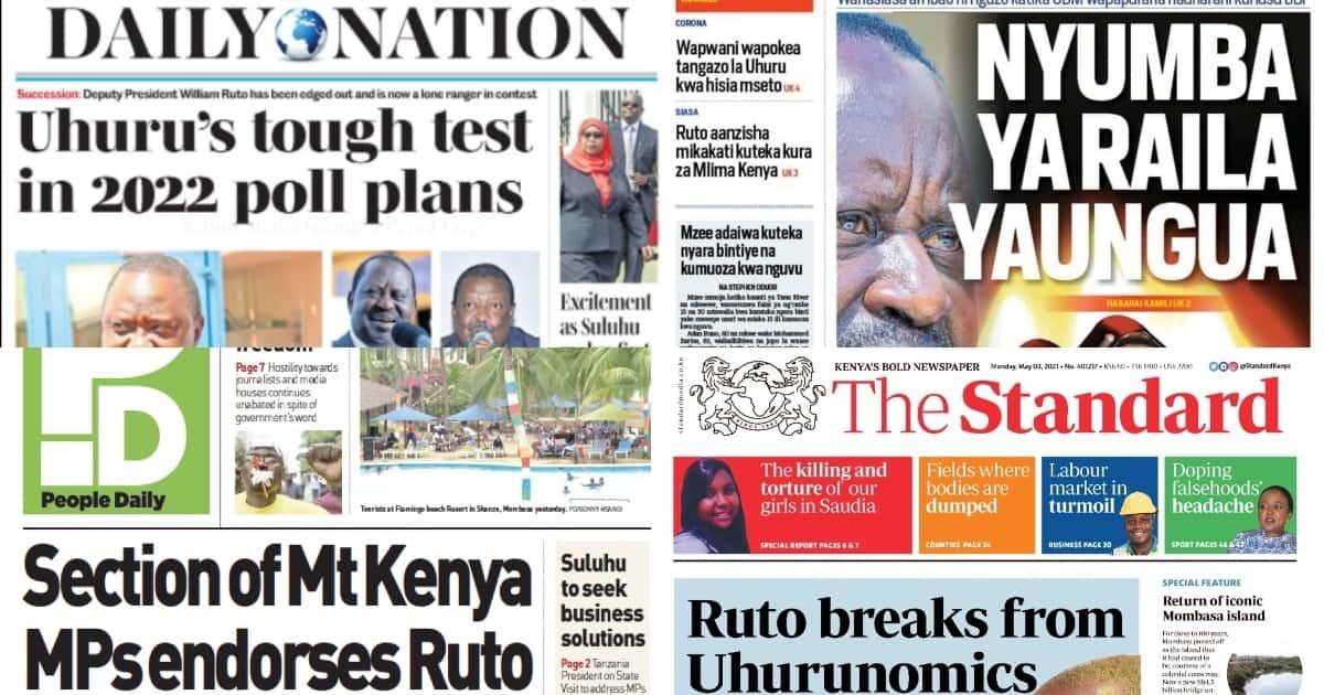 Magazeti Jumatatu, Mei 3: Ruto Amchagua Mgombea Mwenza Kutoka Mlima Kenya ▷ Kenya News