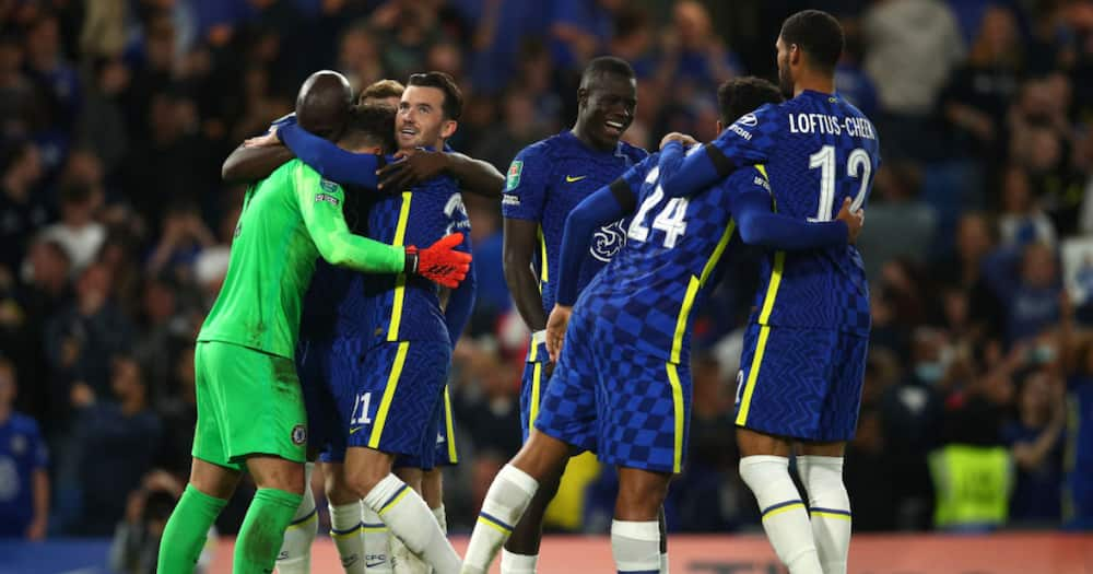 Chelsea players celebrate after their victory in the penalty shootout in the Carabao Cup Third Round match against Aston Villa at Stamford Bridge on September 22, 2021 in London, England. (Photo by Chris Lee - Chelsea FC/Chelsea FC via Getty Images)