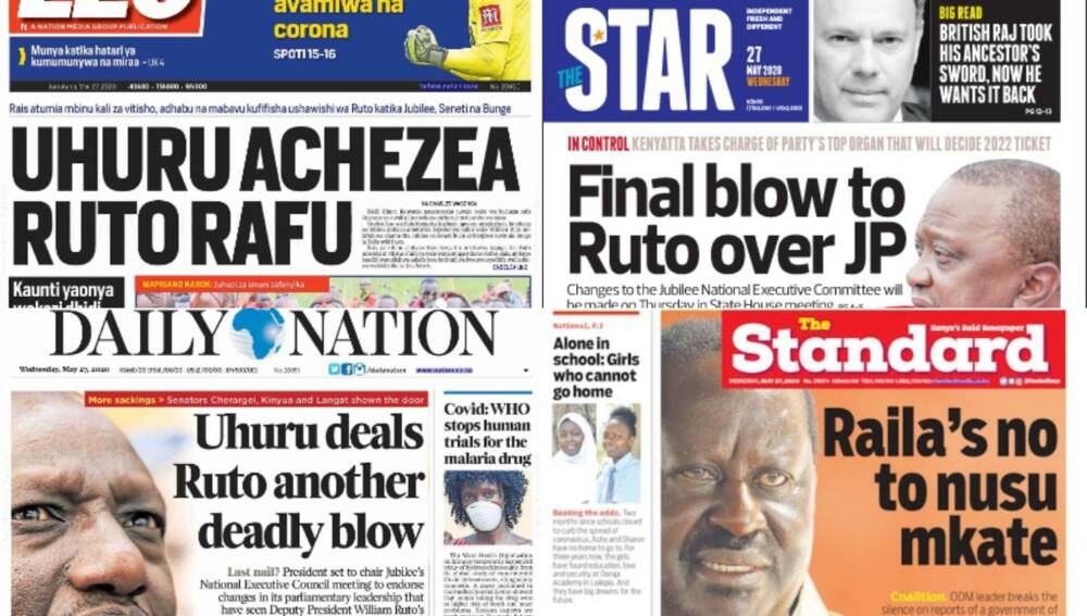 Kenyan newspapers review for May 27: Tuju hints at initiating disciplinary action against DP William Ruto for insubordination