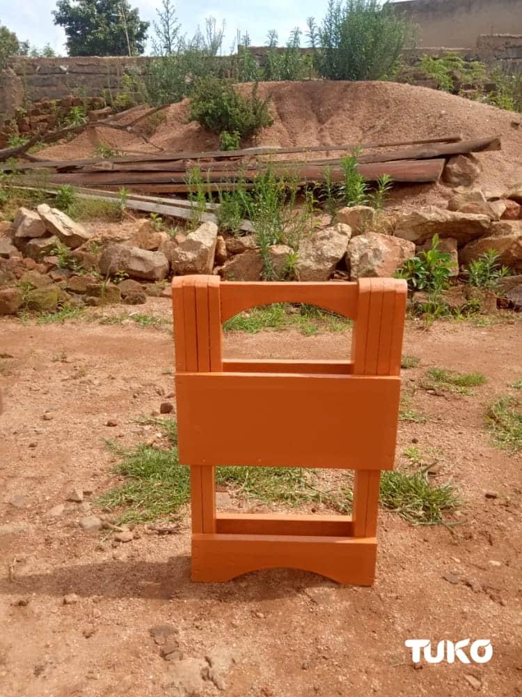 Stanley Mokaya: Kisii carpenter creates portable stool that can be folded