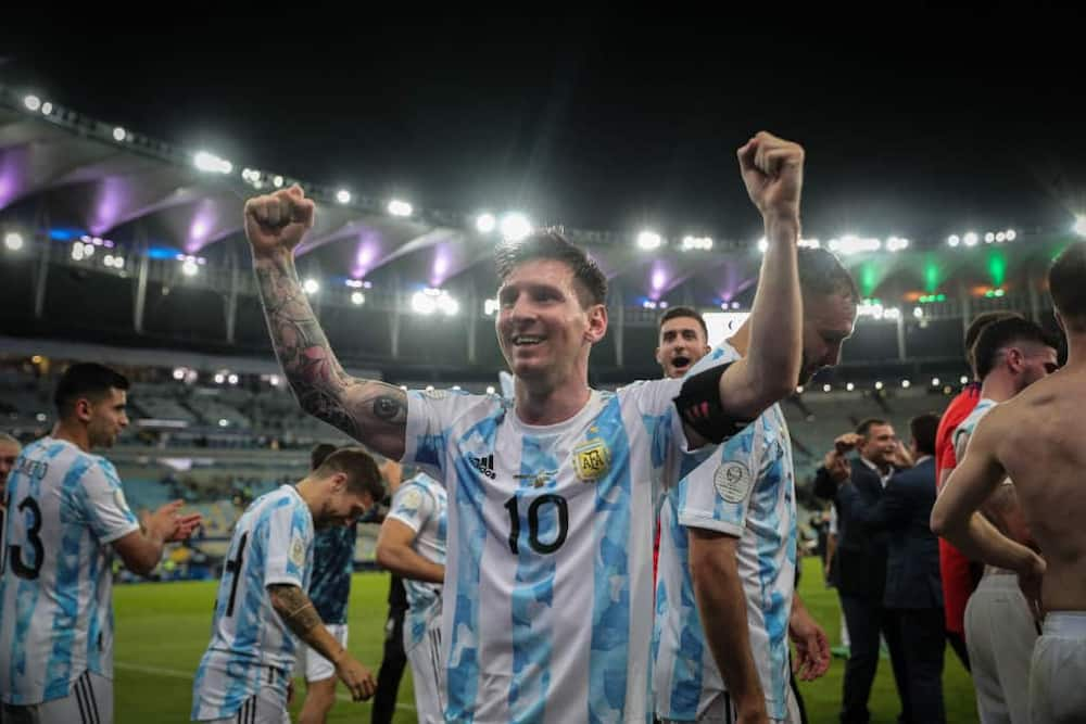Lionel Messi and Argentina teammates celebrating Copa America glory in Brazil. Photo by Gustavo Pagano