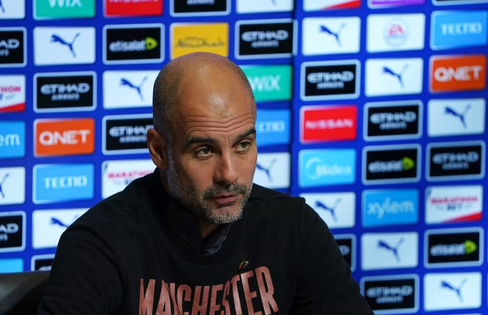 Manchester City boss Pep Guardiola speaking with the press