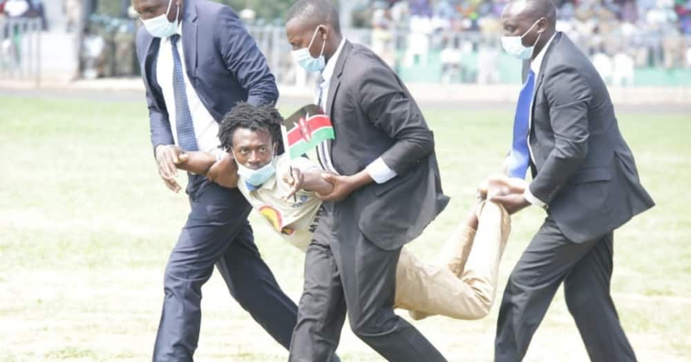 The security pouched on him before he could get far and whisked him away. Photo: NTV.