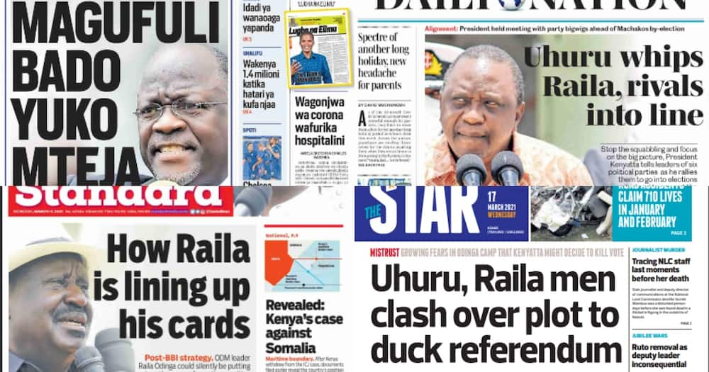 Newspapers Review for March 17: Uhuru Urges NASA Principals to Stop Fighting, Unite Against Ruto