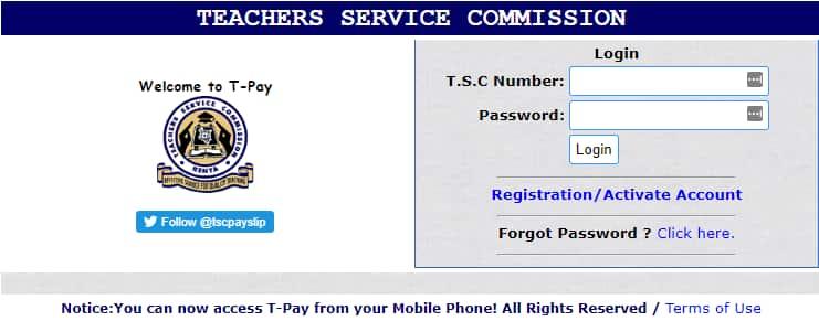 TSC payslip registration online Kenya