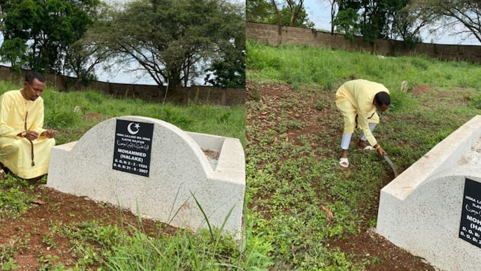 """Moha Jicho Pevu Visits Dad's Grave after Eid Prayers: """"It's Been 14 Years Since He Left"""""""