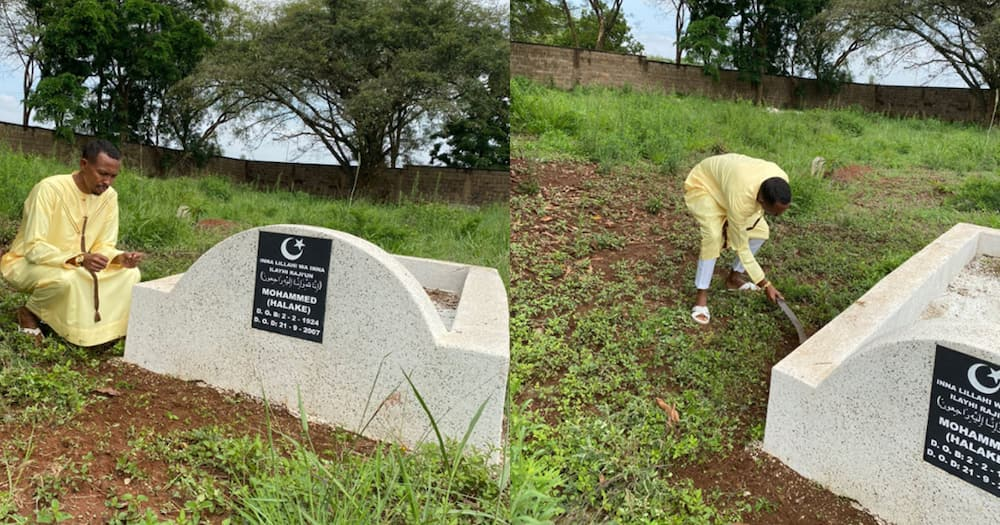 """Moha Jicho Pevu Visits Dad Grave After Eid Prayers: """"It's Been 14 Years Since He Left"""""""