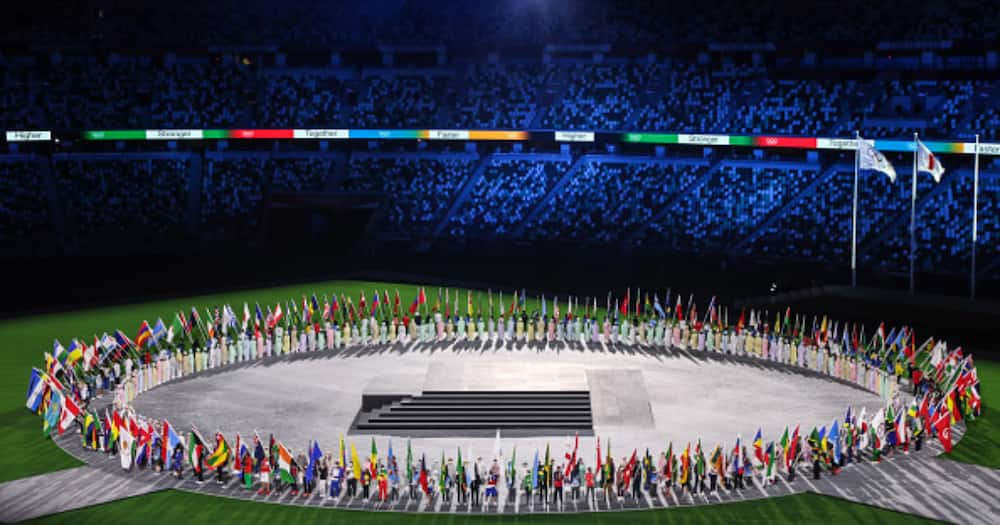 Closing ceremony in the Olympic Stadium. the all NOC flags through the stadium (Photo by Ayman Aref/NurPhoto via Getty Images)