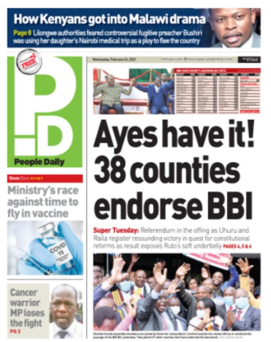 Kenyan newspapers review for February 24: Ruto's available options after resounding passage of BBI bill