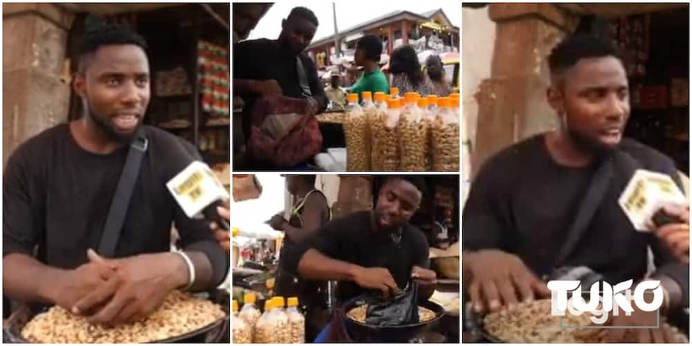 Nigerian man who dropped out of school now sells groundnuts, says he built a house with his groundnut business
